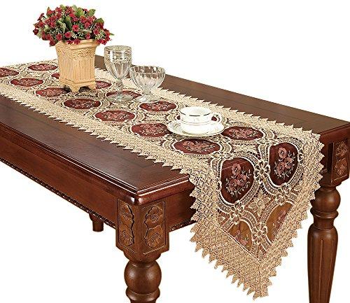 Camino de mesa de encaje Vintage oro granate y aparador bufandas bordado de flores
