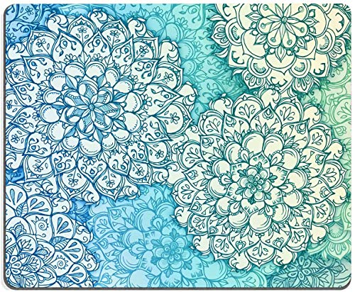 """Mouse Pad, Teal Mandala Pattern Mouse Pad, Flower Mouse Pad, Gaming Mouse Mat, Square Waterproof Mouse Pad Non-Slip Rubber Base MousePads for Office Home Laptop Travel, 9.5""""x7.9""""x0.12"""" Inch"""