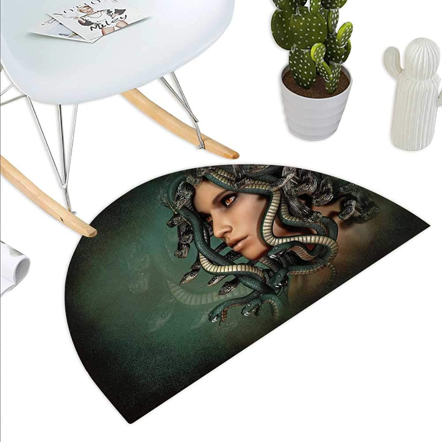 Mythological Semicircle Doormat Spiritual Woman with Snakes on Her Head Sacred Occult Style Zen Meditation Halfmoon doormats H 43.3  xD 64.9  Green Tan