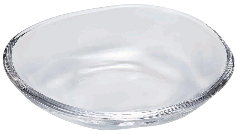 好戦的な荒涼としたバスタブアデリア ガラス 豆皿 クリア 最大9×高1.8cm てびねり 日本製 P-6412