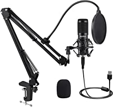 USB Condenser Microphone, IKEDON 192KHZ/24Bit Plug & Play PC Streaming Mic, USB Microphone Kit with Professional Sound Chi...