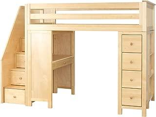 Plank & Beam Staircase Combo Loft Bed + Desk + Dresser, Natural