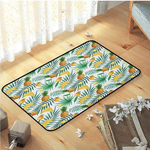 Slip-Resistant Washable Entrance Doormat Exotic Fruits Pattern Pineapples Bananas Oranges Tropical Leaves,W16 xL24 Green Yellow Pale Brown