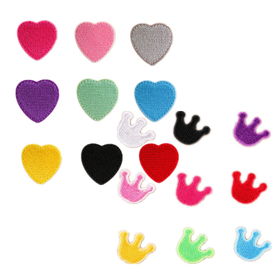 Assorted Color 18pcs Heart and Crown Sew Iron on Patches Embroidered Patches Appliques for DIY Motif Clothing Accessory Decoration