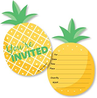 Big Dot of Happiness Tropical Pineapple - Shaped Fill-in Invitations - Summer Party Invitation Cards with Envelopes - Set of 12