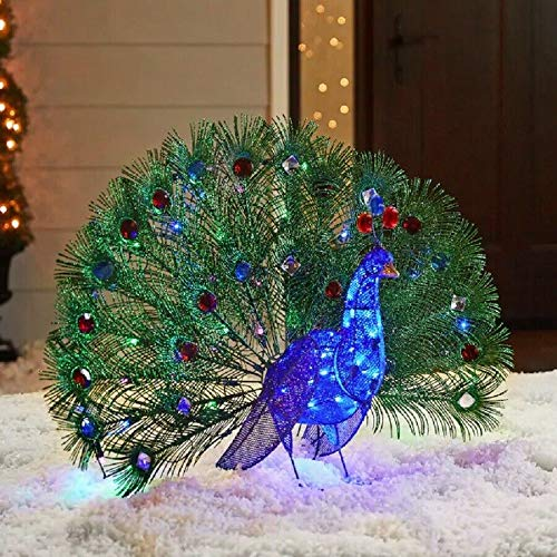 Holiday Home 3 Foot Lighted Blue Peacock Sculpture Outdoor Christmas Yard Decor Lawn Display