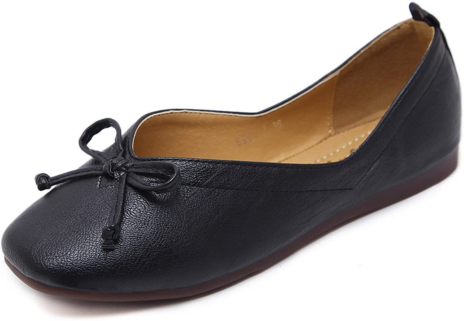 AdeeSu Womens Bows Square-Toe Low-Cut Uppers Apricot Urethane Flats shoes -