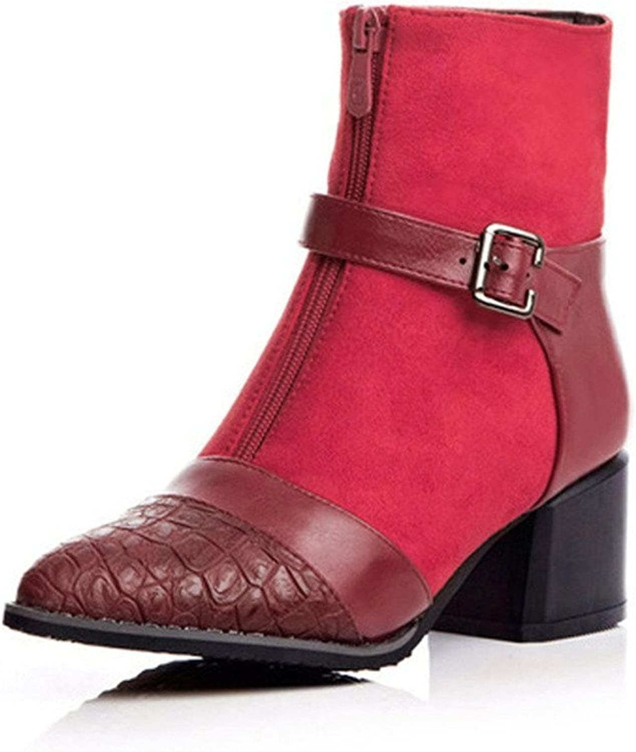 Also Easy Stylish Women's Retro Buckle and Zip Pointed-Toe Chunky Kitten Heel Short Boots Unique Style
