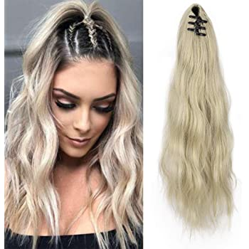 "SEIKEA 16"" Pony Tail Clip On Extensions Long Voluminous Hair Piece Wavy Curly Heat-Resisting Hair Extensions Color Ash Blonde"