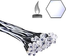 EDGELEC 30pcs 12 Volt 5mm White Flicker LED Lights Emitting Diodes (Candle Flickering Lights) Pre Wired 7.9 inch DC 12v LE...
