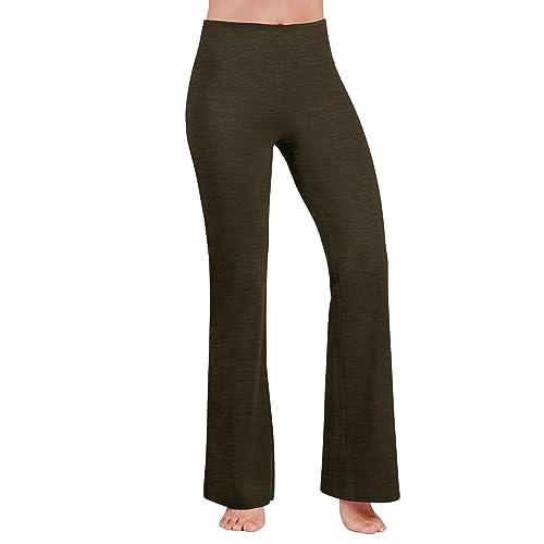 84b481aba9fa4 ODODOS Power Flex Boot-Cut Yoga Pants Tummy Control Workout Non See-Through  Bootleg