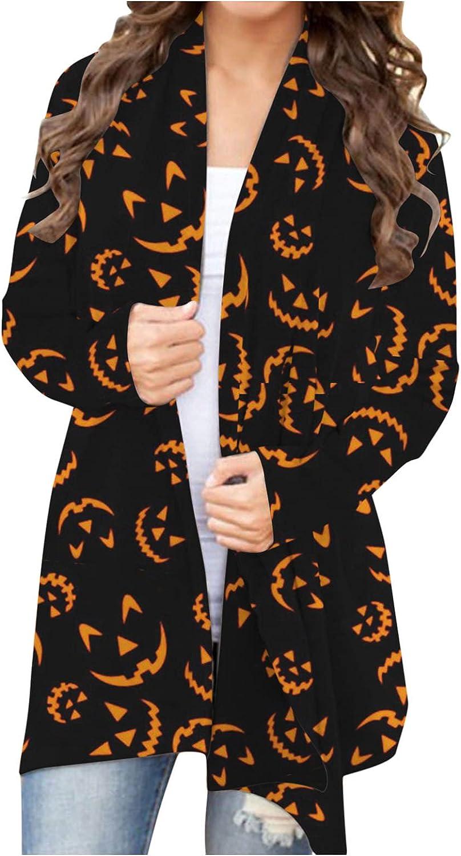Halloween Cardigan Sweaters for Women Lightweight Open Front Coat Pumpkin Ghost Print Blouse Casual Long Sleeve Blouses