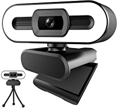 1080P HD Webcam - Streaming Camera with Microphone 3-Level Adjustable Brightness Ring Light, Auto-Focus Plug and Play Comp...