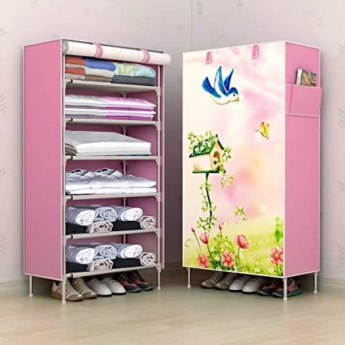 PYXBE 6-Tiers Multipurpose 6 Shelve Baby Wardrobe,Non woven fabric zippered cover, Foldable, Collapsible Fabric Wardr...