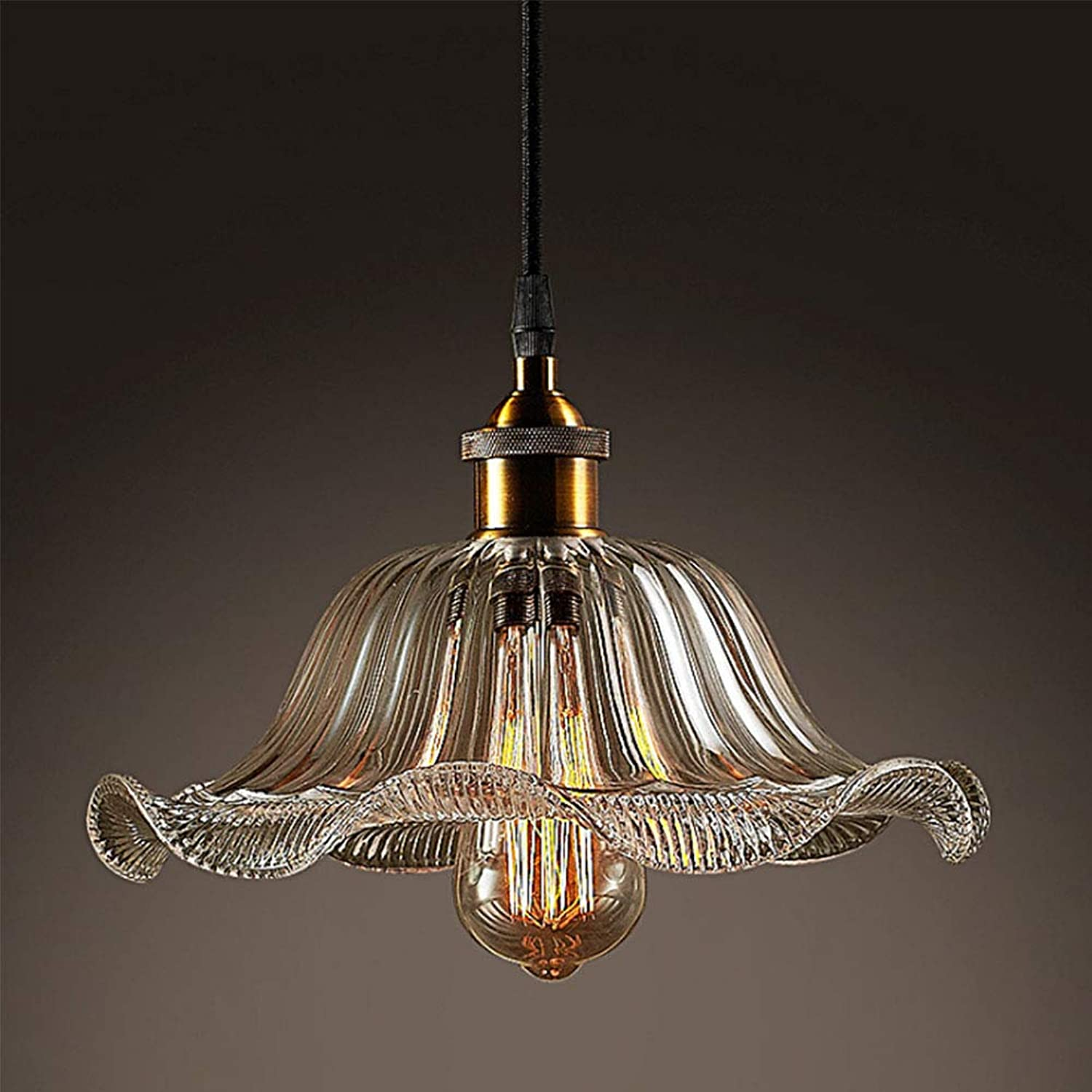 LL Pendant Lights Single Heads Glass Industrial Wind Retro Simplicity Chandelier for Dining Room Cafe Bar Bedroom Lighting,Clear,300X1000MM