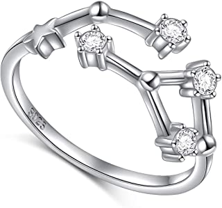 925 Sterling Silver CZ Horoscope Zodiac 12 Constellation Astrology Adjustable Statement Ring for Women Teen Girls Birthday Gift,Size 7