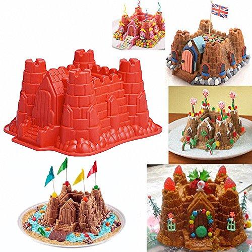 MoldFun 3D Castle Cake Mold Castle Silicone Pan Mold for Bread Baking, Chocolate, Ice Cream, Beach Sand, Snow