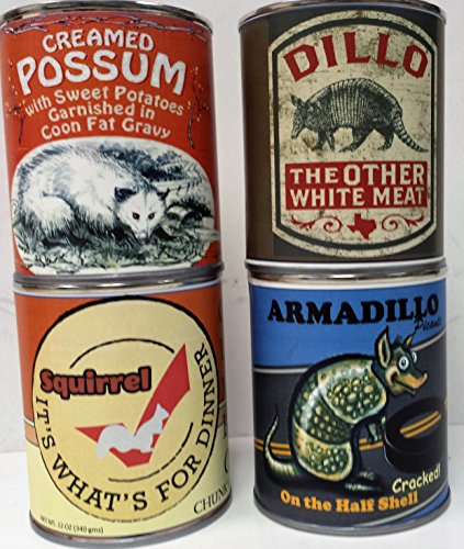Gag Canned Meat Combo Pack: Creamed Possum, Armadillo, Dillo and Squirrel!