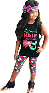 Mermaid Hair Don't Care 3PC Toddler Baby Girls Cute Mermaid Print T-shirt + Pants with Headband Outfit Clothing Sets (5-6 ...