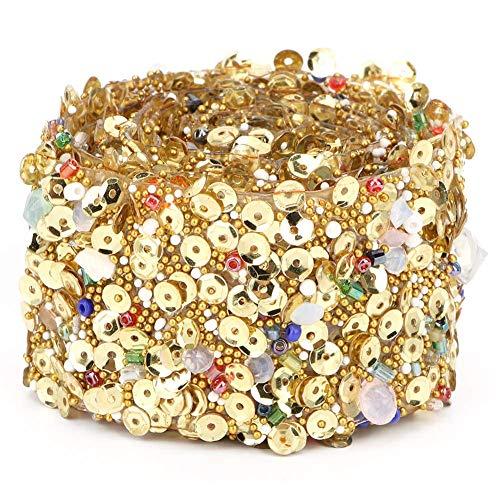 Rhinestones Bead Trim 1m/39.4in Rhinestone Ribbon DIY Decor Trim Accessory for Wedding Dress Necklace Bracelet Sewing Dress (Color : 3.5cm Wide Golden)