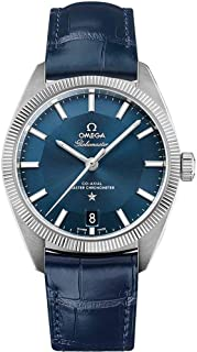Omega Constellation Globemaster Blue Dial and Leather Strap Men's Watch