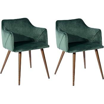 FurnitureR Juego de 2 sillas de Comedor de Terciopelo Sillas Modernas con Brazos Decorativos de Mediados de Siglo Sillas tapizadas con Patas de Metal para Sala de Estar Verde