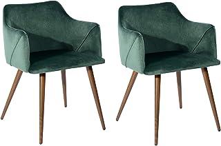 FurnitureR Juego de 2 sillas de Comedor de Terciopelo Sillas
