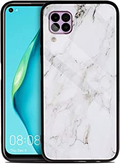حافظة MOONCASE Huawei P40 Lite ، غطاء خلفي من الزجاج المقسى الناعم الهجين المقاوم للصدمات غطاء حماية رقيق للغاية لهاتف Hua...