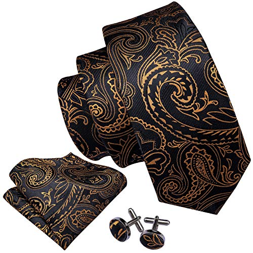 Barry.Wang Uomini Paisley Cravatta Tasca Piazza Gemelli Nero Oro Festa Nozze