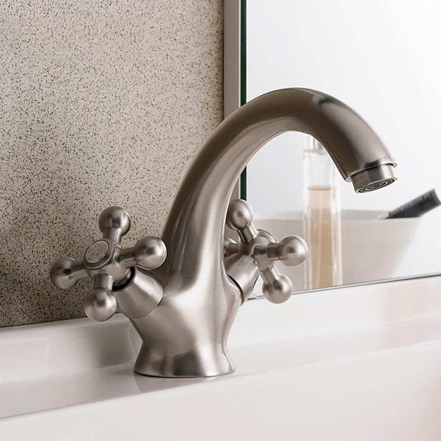 IFELGUD Brass Body Nickel Brushed Bathroom basin faucets Two handles Retro color