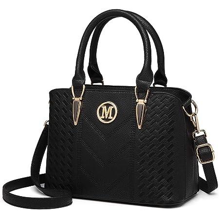 Miss Lulu Damen Henkeltaschen Lychee Muster Umhängetasche Strick Prozess Schultertaschen Fashion Shopper Bag Tote Bag