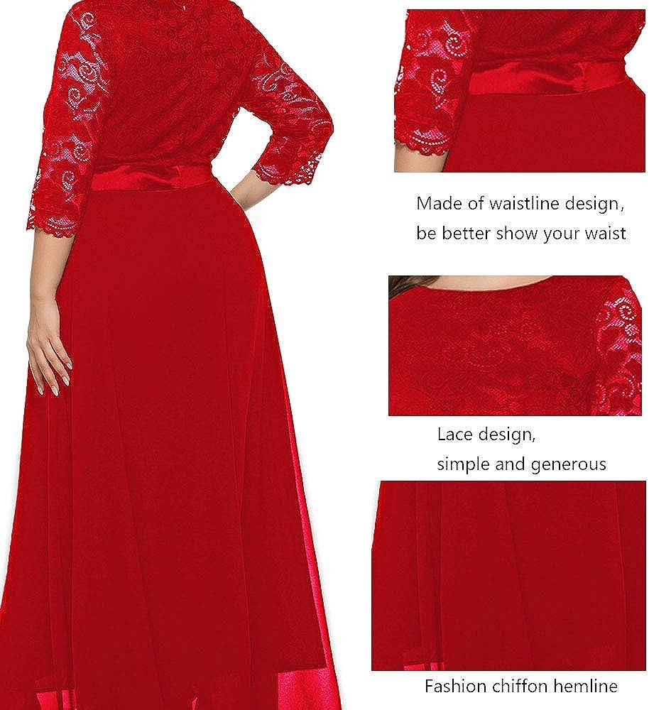 Women's Scoop Neckline Stretch Lace Maxi Dress XL-5XL Plus Size - Evening Wedding Cocktail Party Dress SQ157