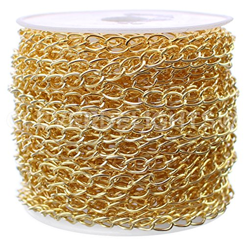 CleverDelights Curb Chain Spool - 3.5x5.5mm Link - Gold Color - 30 Feet - Bulk Chain