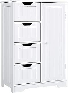 Homfa Armario Mueble Almacenaje Organizador para baño Cocina salón y Dormitorio 4 Cajones y 1 Puerta 56x30x83cm Blanco…