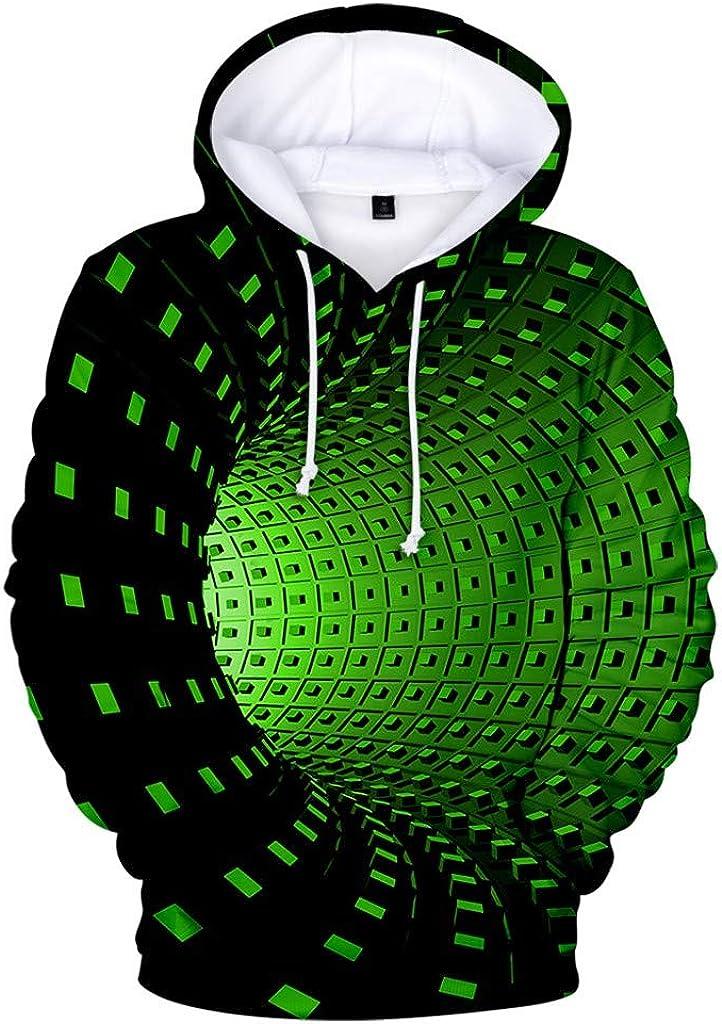 Bravetoshop Unisex Novelty Realistic 3D Digital Print Pullover Hoodies Front Pocket Fashion Tracksuit Sweatshirt Outerwear for Men Women Plus Size Ugly Pattern Graphic Long Sleeve Jacket Coat Green