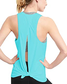 Womens Workout Tank Tops Cute Open Tie Back Yoga Tops Running Shirts Gym Clothes