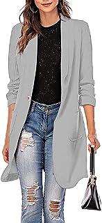 Sponsored Ad - Grlasen Women's Blazer Jacket Three-Quarter Sleeve Notched Lapel Plain One Button Regular Office Blazer Jac...