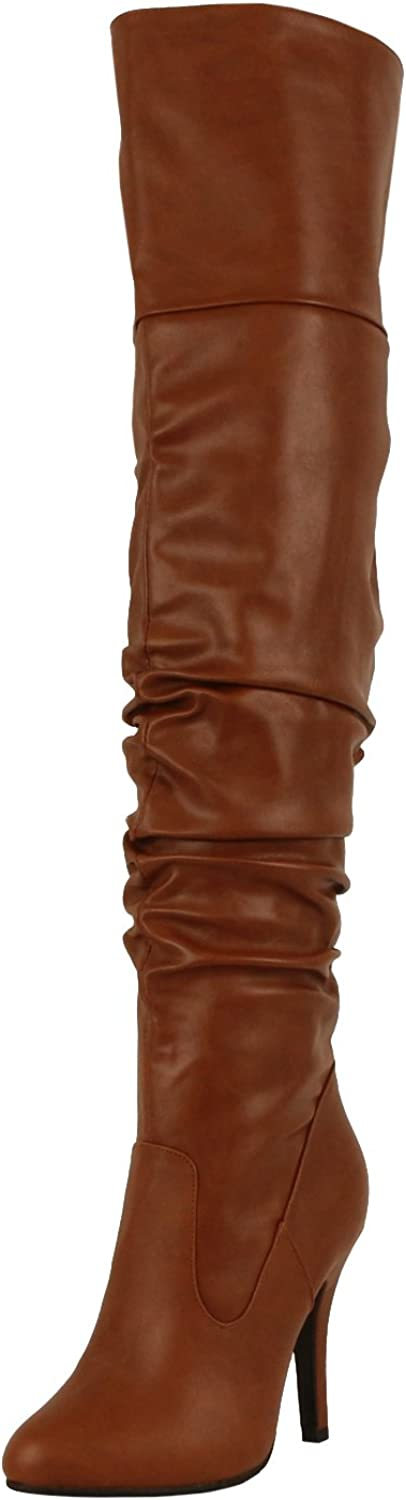 FOREVER LINK FOCUS-33 Women's Fashion Stylish Pull On Over Knee High Sexy Boots, color TAN PU, Size 5.5