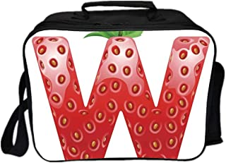 Letter W Environmental Lunch Ice Bag,Capital W with Strawberry Green Leaves Harvest Yield Pattern Alphabet Decorative for Travel Picnic,One size