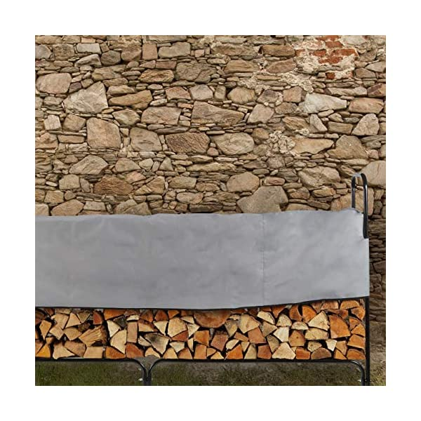 Relaxdays Leñero Exterior e Interior, con Cubierta, Acero, 122 x 245 x 40 cm, Negro
