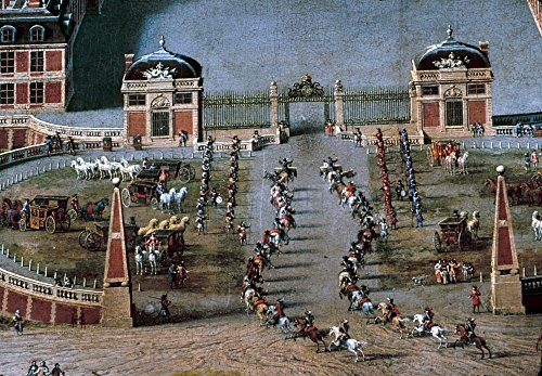 France Versailles 1668 Nin A Spiral Pattern Members Of The KingS Cavalry Ride Through The Front Gates Of The Palace Of Versailles Detail From A Painting By Pierre Patel 1668 Poster Print by (18 x 24)
