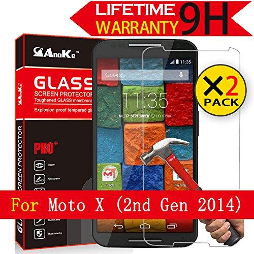 Motorolal Moto X (2nd Gen) Glass Screen Protector, AnoKe(0.3mm 9H 2.5D) Tempered Glass Screen Protector Film Shield For Moto X 2nd Gen (2014) Glass