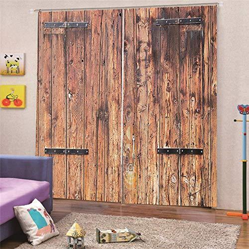 BSZHCT Cortinas Opacos Impresas 3D Foto Tela De Poliéster - Puerta de Madera Retro 150X166CM Aislante Térmico Ventana para Dormitorio Salón Decorativa