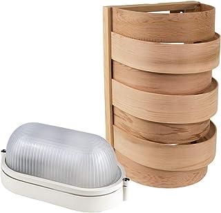 Kit d'éclairage de Sauna Abat-jour Sawo 917-D de Cèdre avec E27 IP54 Lampe de Sauna et Câble de Silicone 5m SiHF