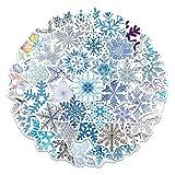 YAZZO Pegatinas de Copo de Nieve Decasos de la Pared de la Feliz Navidad CLORURO DE POLIVINILO Pegatinas de Ventana Adornos navideños 2021 Regalos de año Nuevo