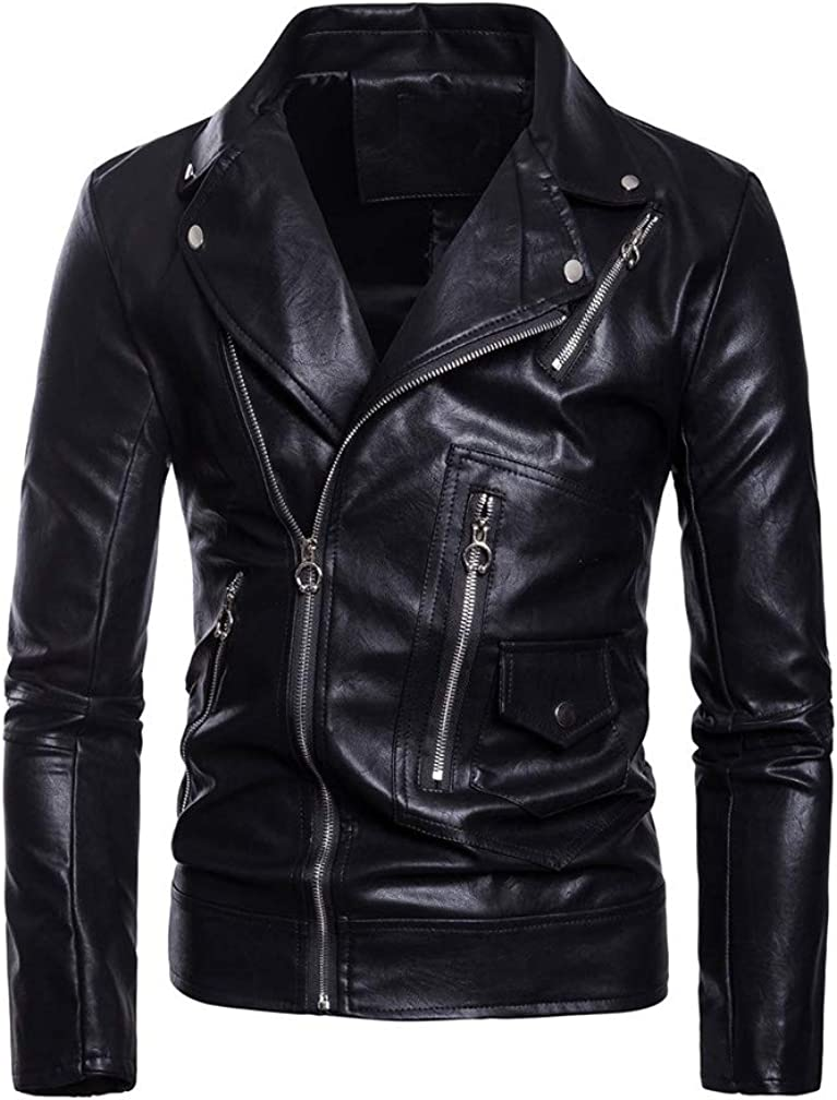 Lavnis Men's Selling and selling PU Leather Jacket Belted Motorc sale Causal Faux