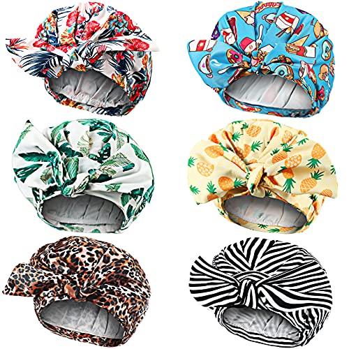 6 Pieces Reusbale Bowknot Shower Caps for Women Bow Shower Bath Caps Reusbale Elastic Hem Turban Shower Hair Caps for Long Short and Curly Hair for Women Girls