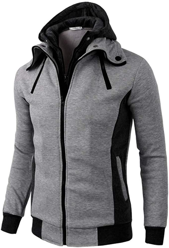 VEZAD Store Men's Double Zipper Thermal Hoodie Coats Autumn Winter Casual Long Sleeve Warm Jacket