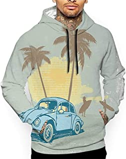 Hoodies Sweatshirt Men 3D Print Surf,Summer Illustration with Vintage Car Sunset Surfing Palm Tree Classic Artwork,Blue Green Yellow Sweatshirts for Teens