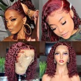 Deep Curly Lace Front Wigs Wine Red Human Hair Wigs For Black Women Pre Plucked Lace Frontal Human Hair Wigs Brazilian Virgin Hair With Baby Hair Deep Part Lace Frontal Human Hair Wigs 12 Inch